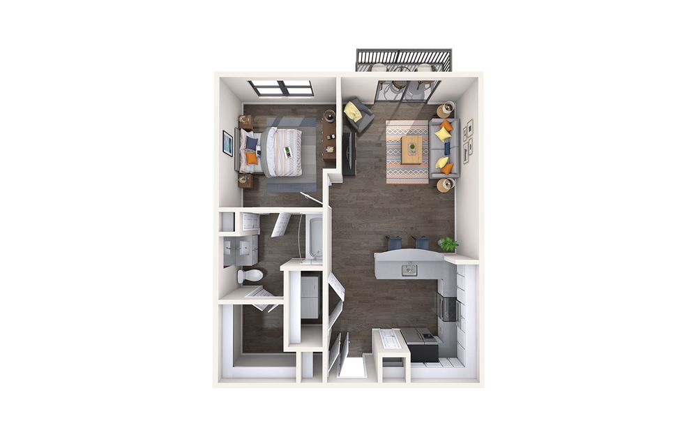 Athens - 1 bedroom floorplan layout with 1 bath and 672 square feet.