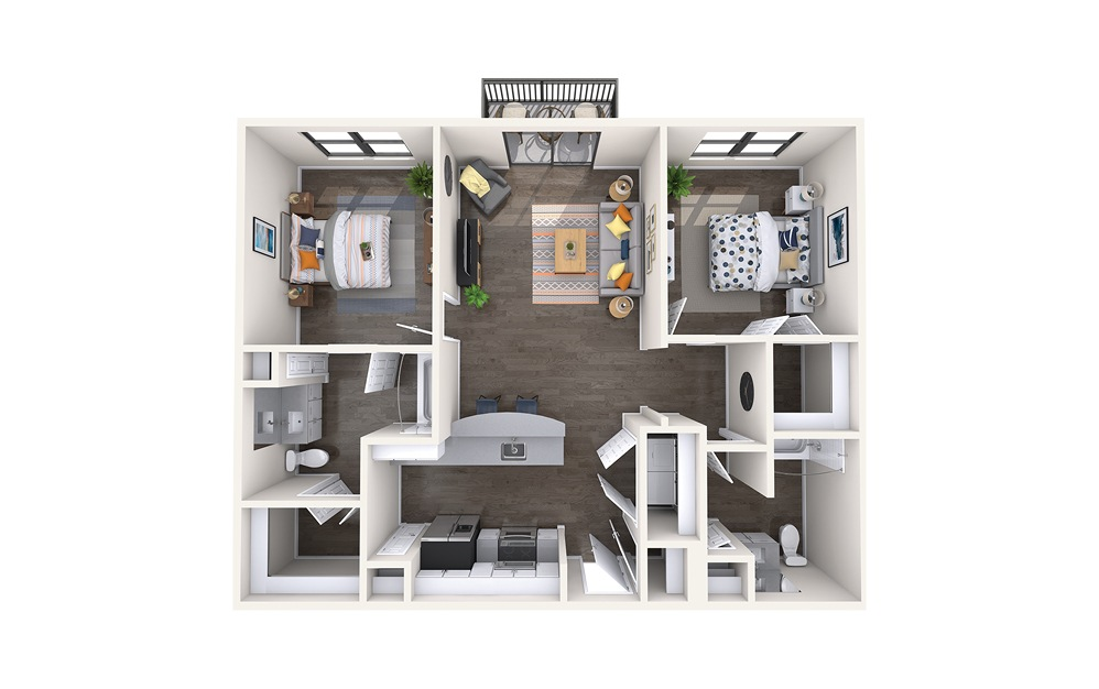 Atlanta - 2 bedroom floorplan layout with 2 baths and 1036 square feet.