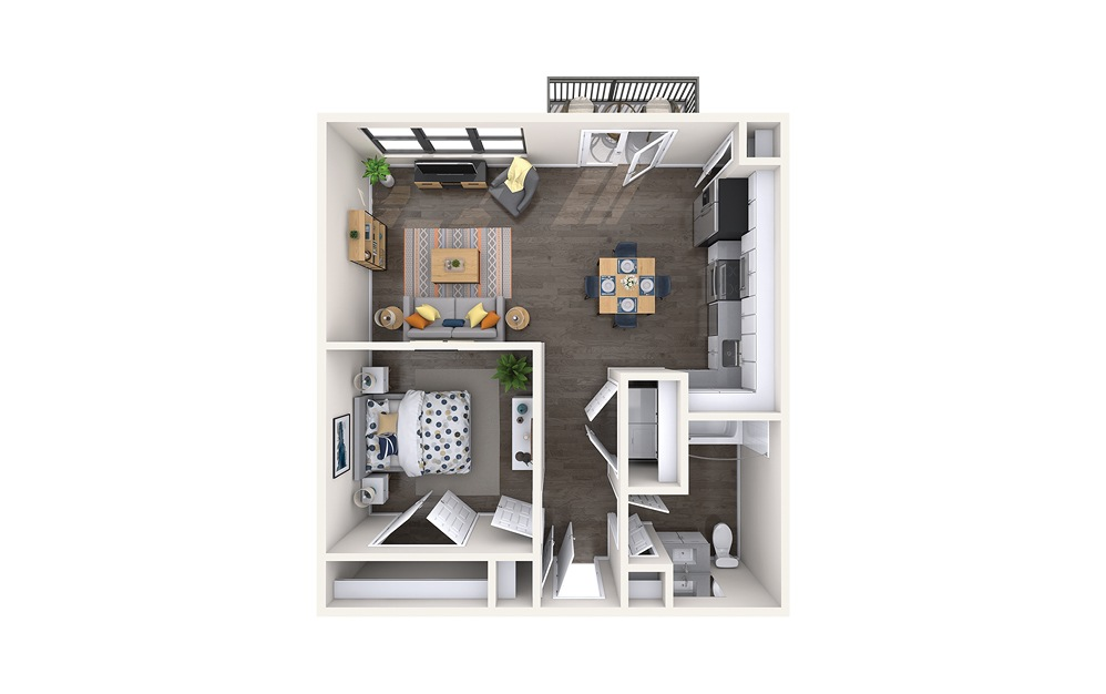 Barcelona - 1 bedroom floorplan layout with 1 bath and 700 square feet.