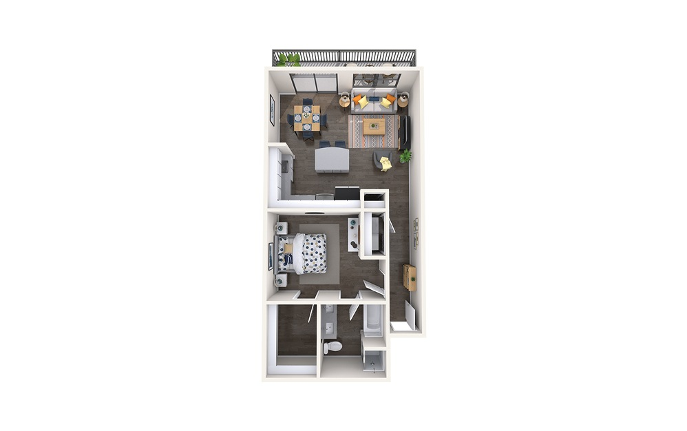 Bellini - 1 bedroom floorplan layout with 1 bath and 930 square feet.