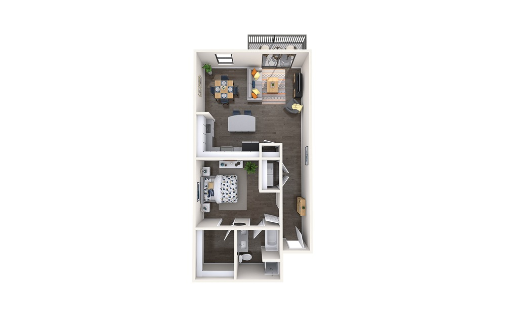 Caravaggio - 1 bedroom floorplan layout with 1 bath and 930 square feet.