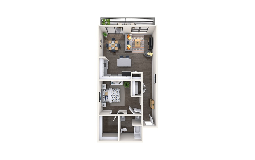 Donnatello - 1 bedroom floorplan layout with 1 bath and 930 square feet.