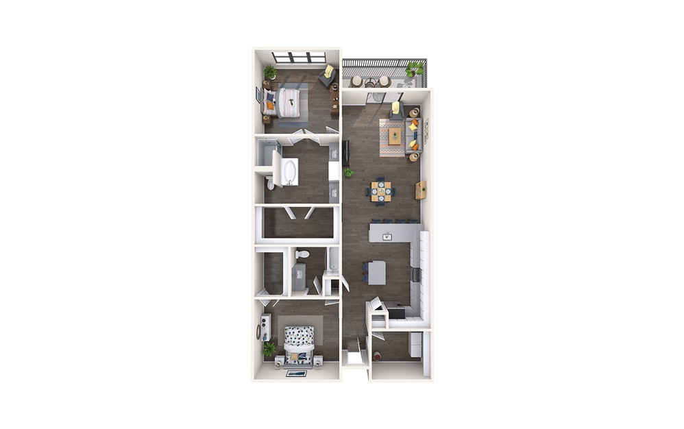 Michael Angelo - 2 bedroom floorplan layout with 2 baths and 1371 square feet.