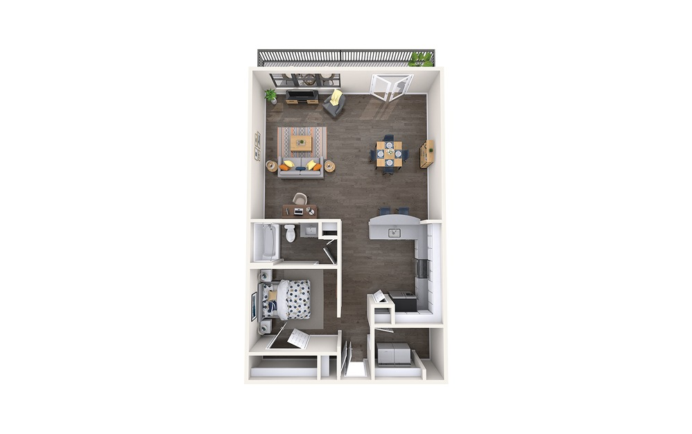 Montreal - 1 bedroom floorplan layout with 1 bath and 1038 square feet.