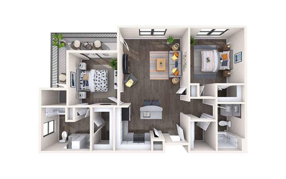 Paris - 2 bedroom floorplan layout with 2 baths and 1174 square feet.