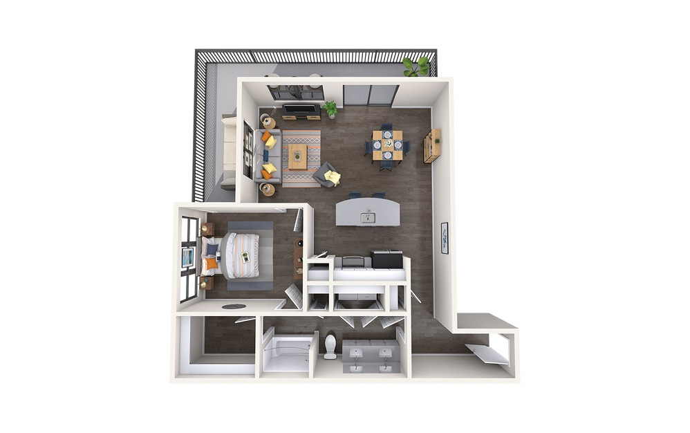 Raphael - 1 bedroom floorplan layout with 1 bath and 877 square feet.