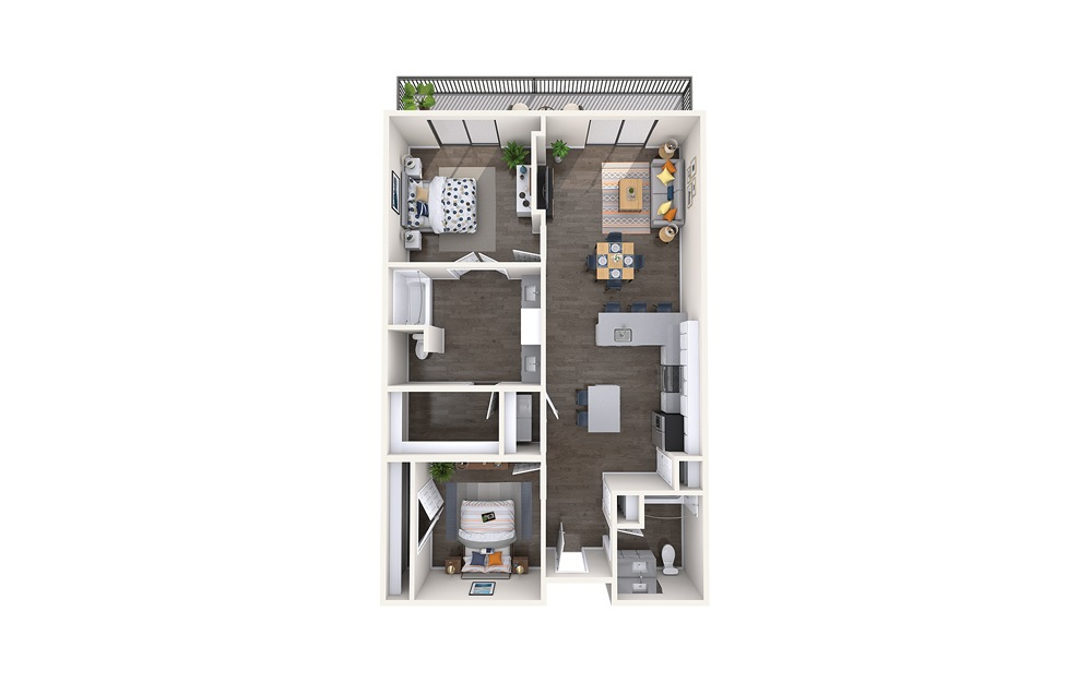 Rembrandt - 2 bedroom floorplan layout with 2 baths and 1276 square feet.