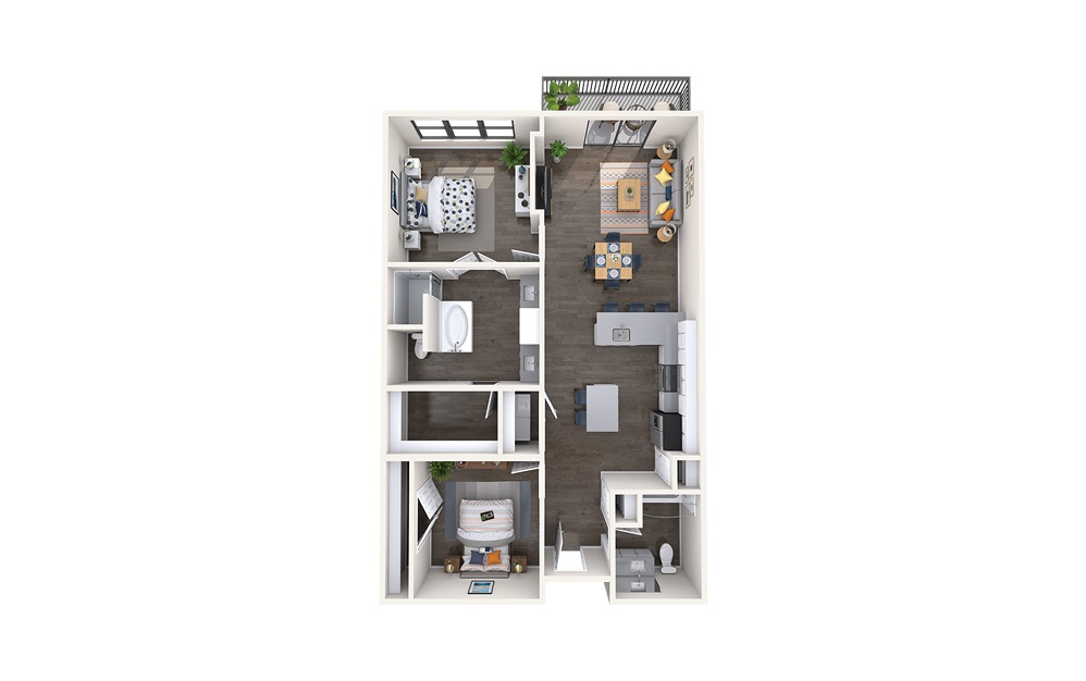 Rodin - 2 bedroom floorplan layout with 2 baths and 1385 square feet.