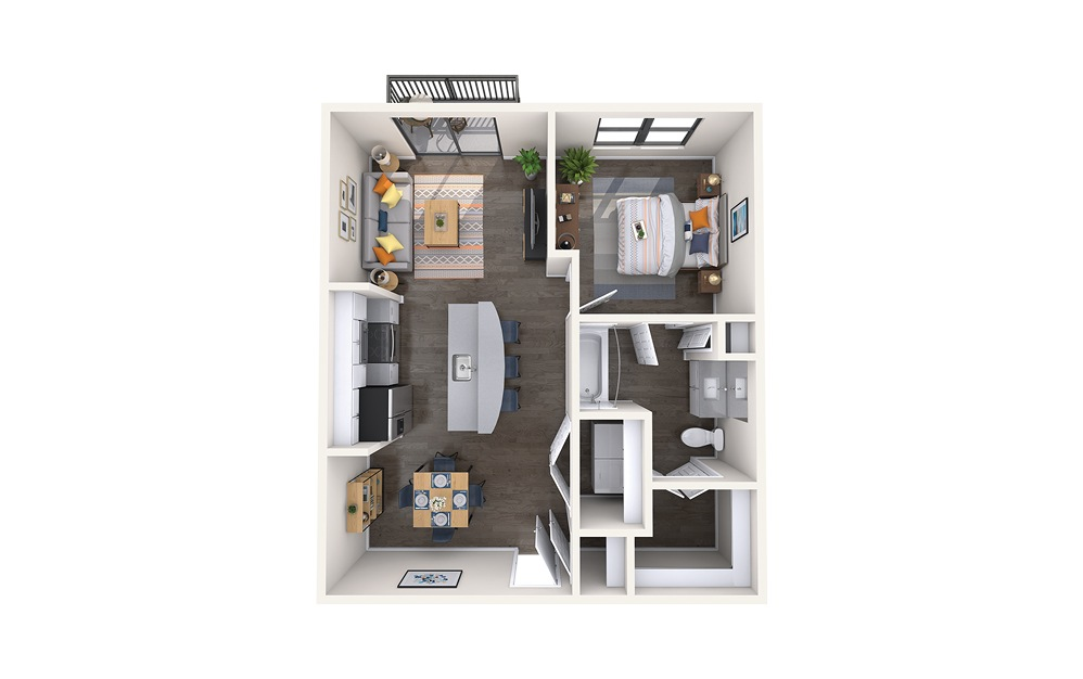 Sydney - 1 bedroom floorplan layout with 1 bath and 672 square feet.